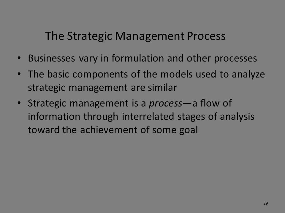 The Strategic Management Process Businesses vary in formulation and other processes The basic components of the models used to analyze strategic manag