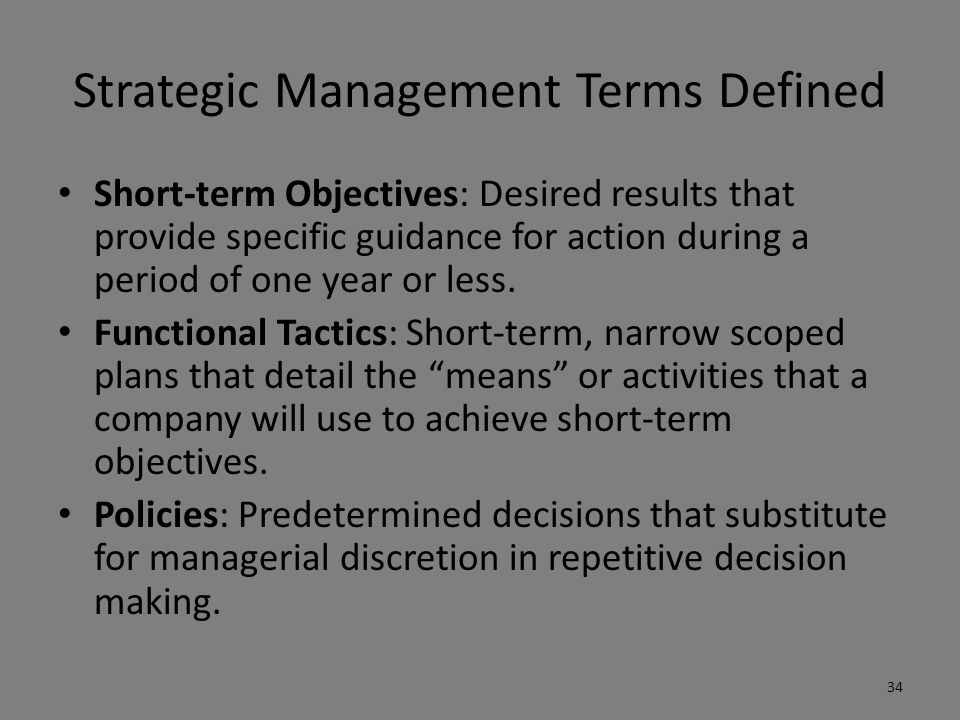 Strategic Management Terms Defined Strategic Control: Tracking a strategy as it is being implemented, detecting problems or changes in its underlying premises, and making necessary adjustments.