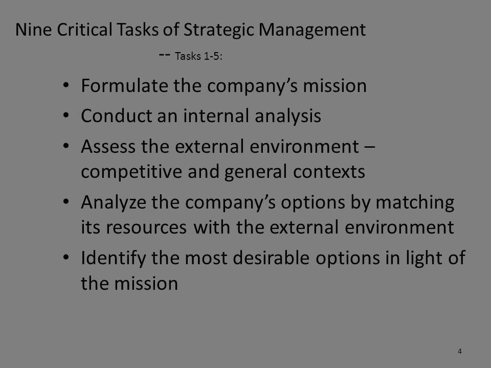 Nine Critical Tasks of Strategic Management -- Tasks 6-9: Select a set of long-term objectives and grand strategies that will achieve the most desirable options Develop annual objectives and short-term strategies that are compatible with long-term objectives and grand strategies Implement the strategic choices Evaluate the success of the strategic process for future decision making 5