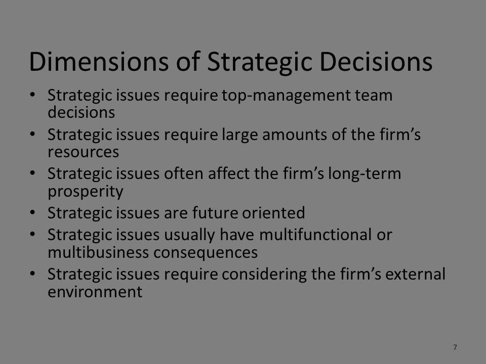 Dimensions of Strategic Decisions Strategic issues require top-management team decisions Strategic issues require large amounts of the firm's resource