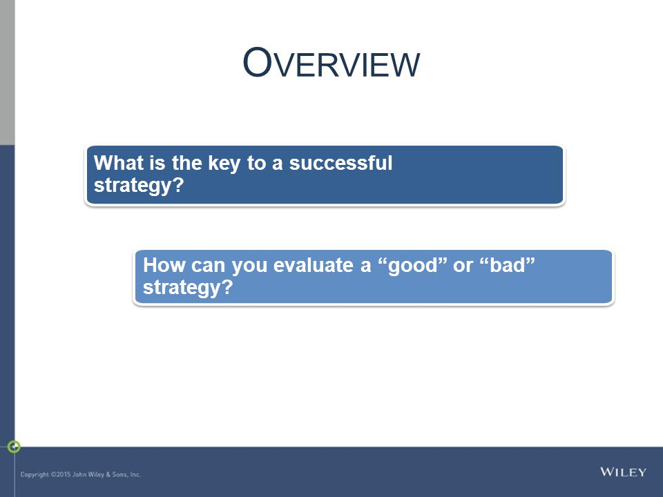 What is the key to a successful strategy. How can you evaluate a good or bad strategy.