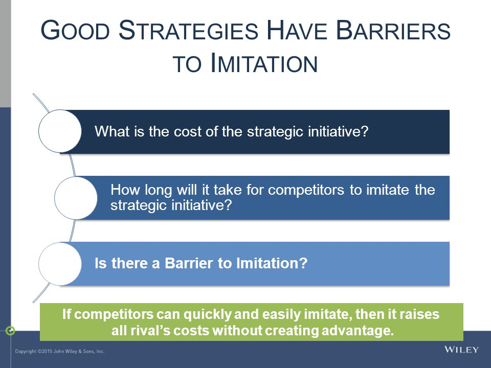 G OOD S TRATEGIES H AVE B ARRIERS TO I MITATION What is the cost of the strategic initiative.