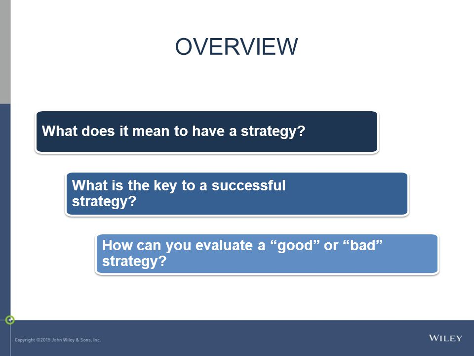 What does it mean to have a strategy. What is the key to a successful strategy.