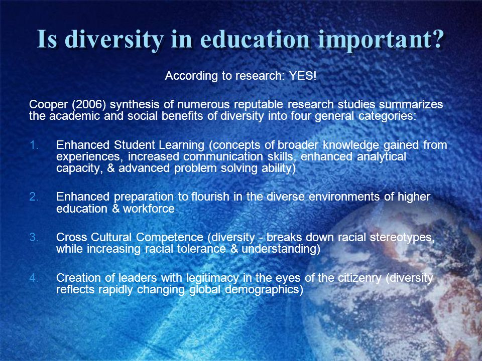 Is diversity in education important. According to research: YES.