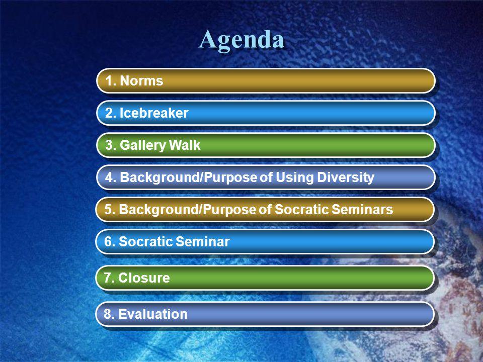 Agenda 1. Norms 2. Icebreaker 3. Gallery Walk 4. Background/Purpose of Using Diversity 5. Background/Purpose of Socratic Seminars 6. Socratic Seminar