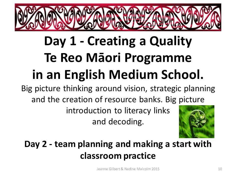 Growing a Quality Te Reo Māori Programme in an English Medium School.