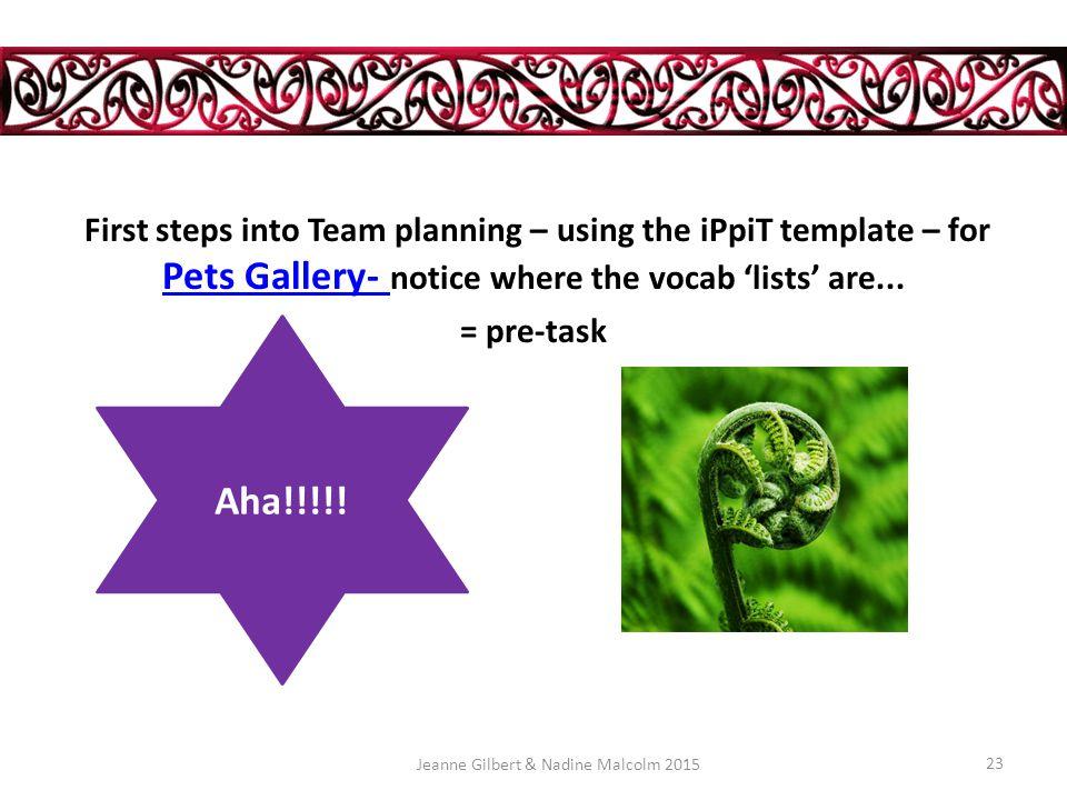 Ellis' principles 6,7, 8 = iPpiT i input P PRACTICE p production i Interaction TBLL Task based language learning + backward mapping Jeanne Gilbert & Nadine Malcolm 201522