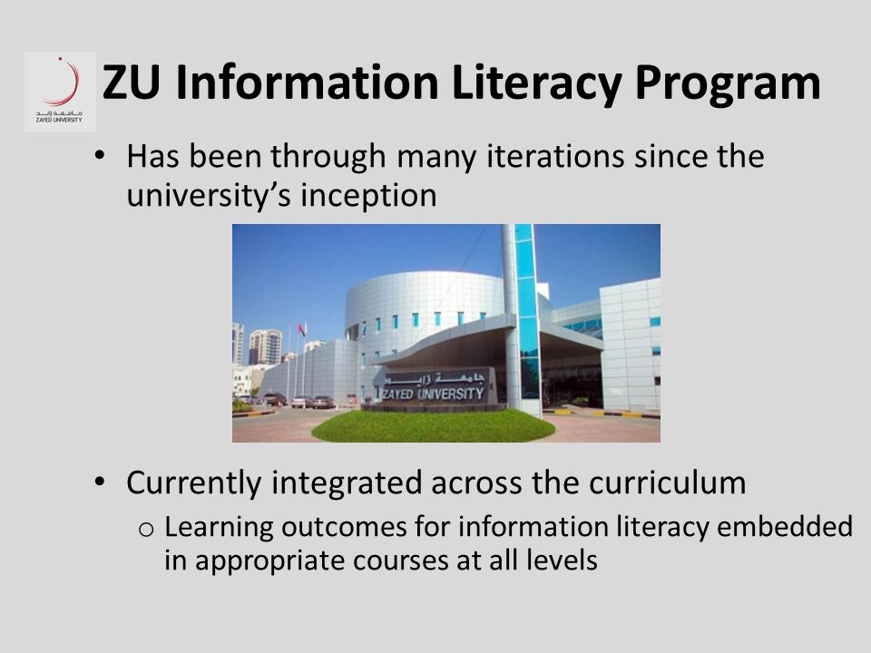 ZU Information Literacy Program Has been through many iterations since the university's inception Currently integrated across the curriculum o Learning outcomes for information literacy embedded in appropriate courses at all levels