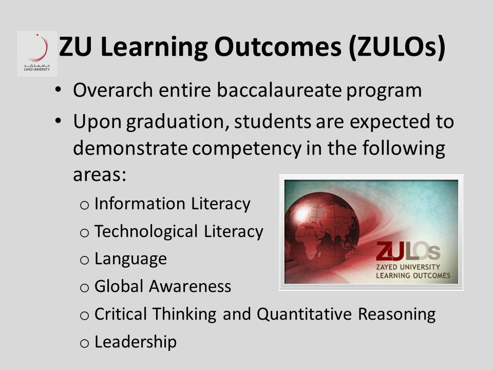 ZU Learning Outcomes (ZULOs) Overarch entire baccalaureate program Upon graduation, students are expected to demonstrate competency in the following areas: o Information Literacy o Technological Literacy o Language o Global Awareness o Critical Thinking and Quantitative Reasoning o Leadership