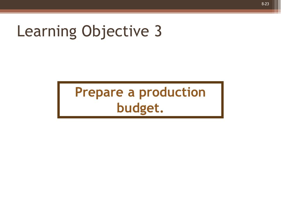 8-23 Learning Objective 3 Prepare a production budget.