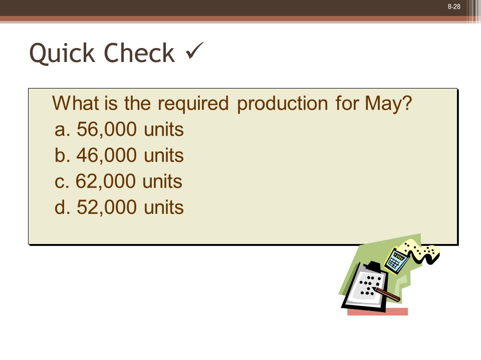 8-28 Quick Check What is the required production for May? a. 56,000 units b. 46,000 units c. 62,000 units d. 52,000 units What is the required product