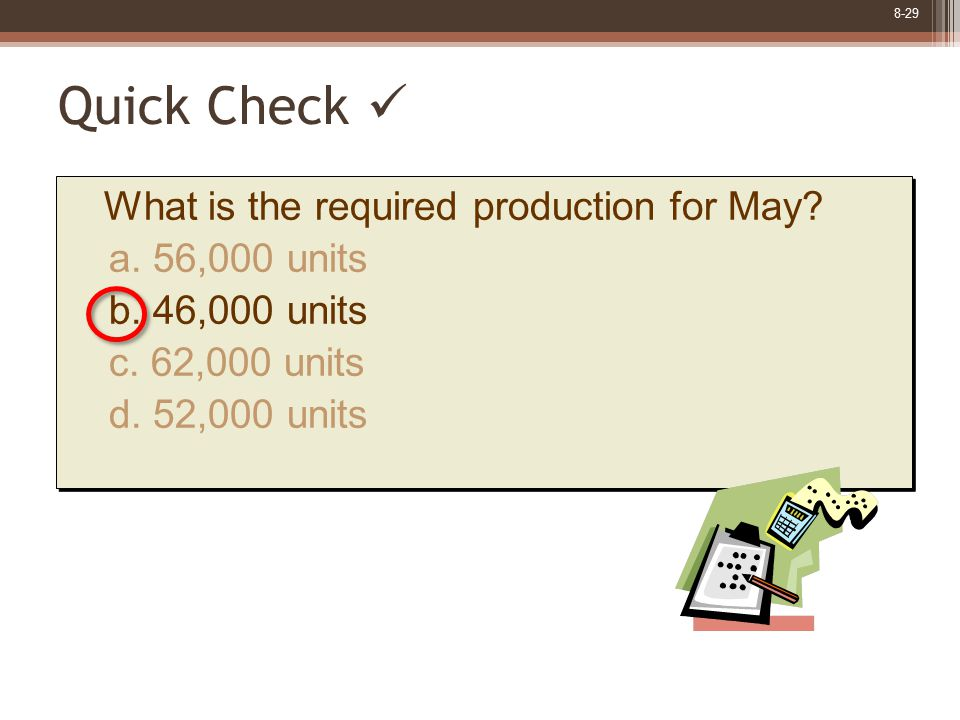 8-29 What is the required production for May? a. 56,000 units b. 46,000 units c. 62,000 units d. 52,000 units What is the required production for May?