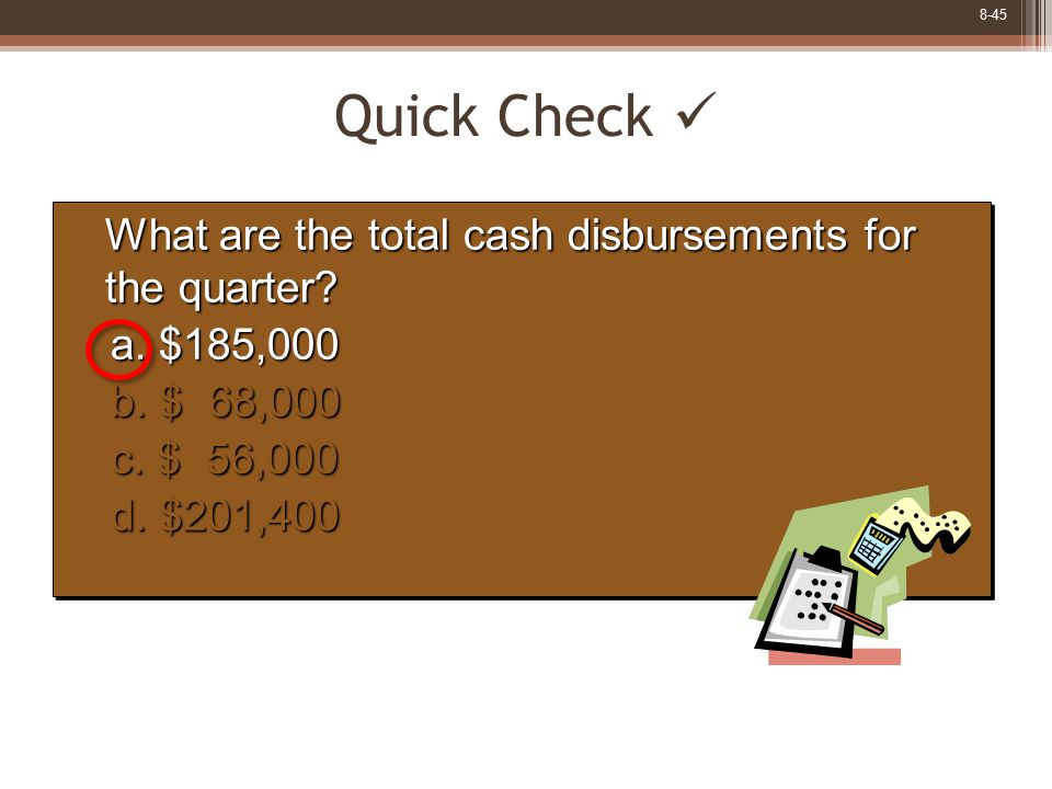 8-45 What are the total cash disbursements for the quarter? What are the total cash disbursements for the quarter? a. $185,000 b. $ 68,000 c. $ 56,000