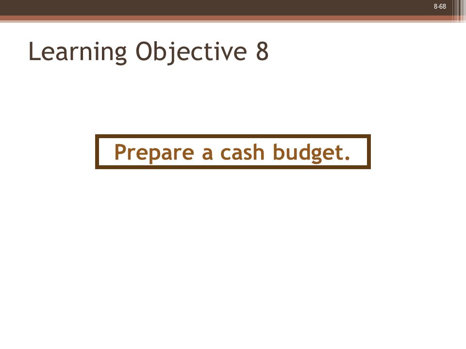 8-68 Learning Objective 8 Prepare a cash budget.