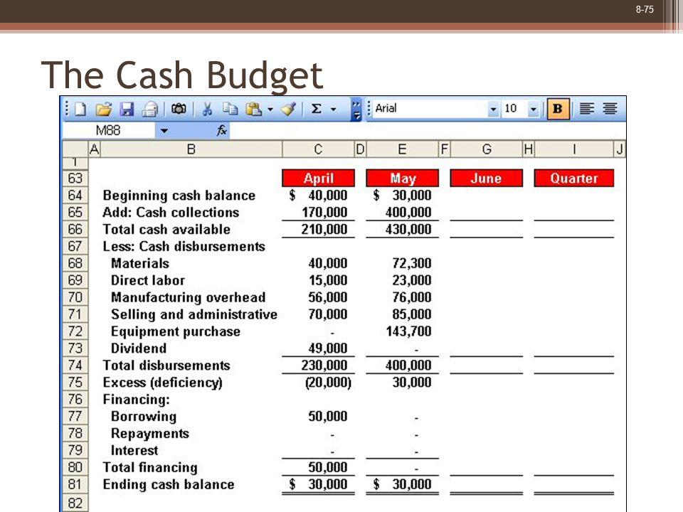 8-75 The Cash Budget