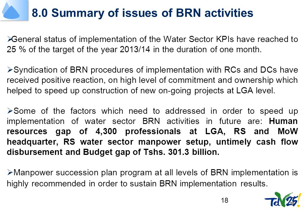 18 8.0 Summary of issues of BRN activities  General status of implementation of the Water Sector KPIs have reached to 25 % of the target of the year 2013/14 in the duration of one month.