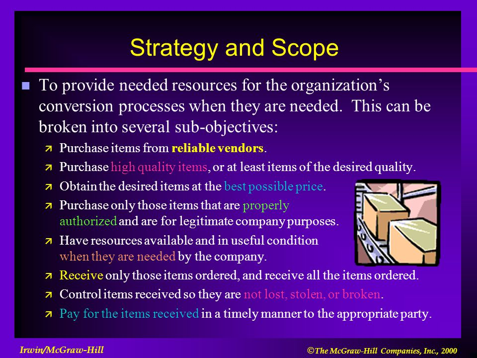  The McGraw-Hill Companies, Inc., 2000 Irwin/McGraw-Hill Strategy and Scope n To provide needed resources for the organization's conversion processe