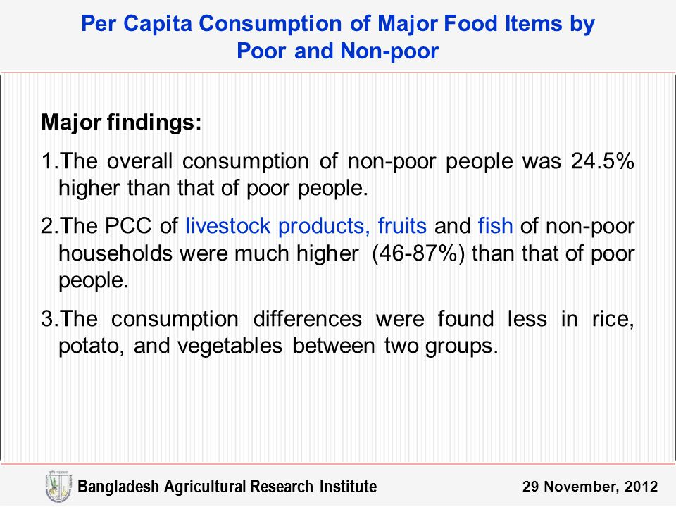 Major findings: 1.The overall consumption of non-poor people was 24.5% higher than that of poor people.
