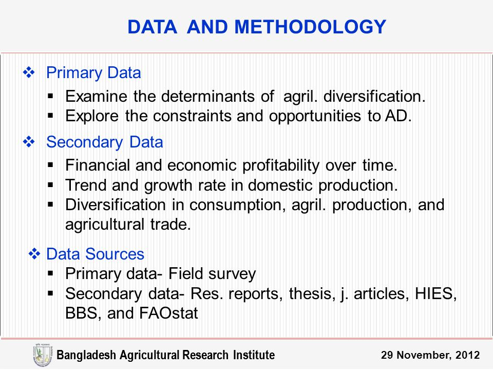 29 November, 2012  Primary Data  Examine the determinants of agril.
