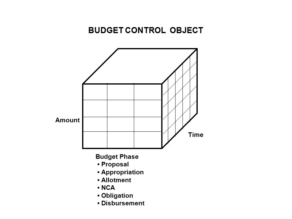 BUDGET CONTROL OBJECT Budget Phase Proposal Appropriation Allotment NCA Obligation Disbursement Time Amount