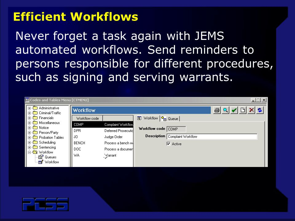 Never forget a task again with JEMS automated workflows.