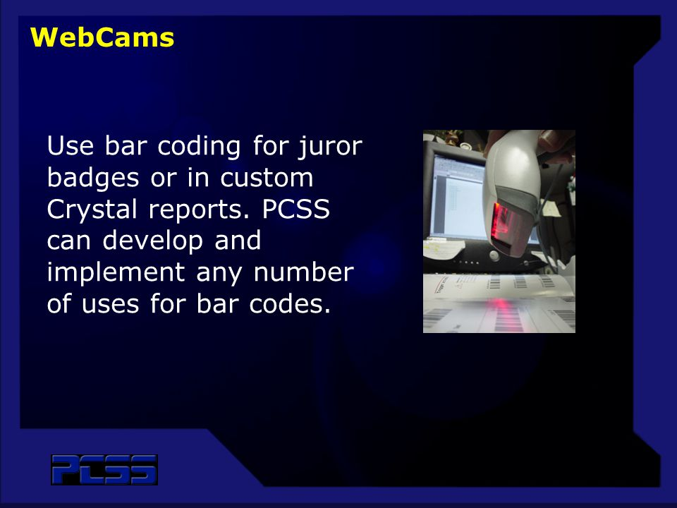 Use bar coding for juror badges or in custom Crystal reports.