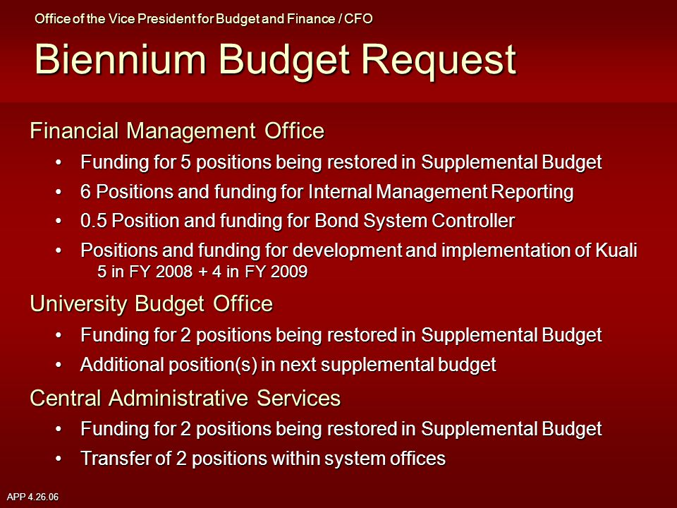 APP 4.26.06 Financial Management Office Funding for 5 positions being restored in Supplemental BudgetFunding for 5 positions being restored in Supplemental Budget 6 Positions and funding for Internal Management Reporting6 Positions and funding for Internal Management Reporting 0.5 Position and funding for Bond System Controller0.5 Position and funding for Bond System Controller Positions and funding for development and implementation of Kuali 5 in FY 2008 + 4 in FY 2009Positions and funding for development and implementation of Kuali 5 in FY 2008 + 4 in FY 2009 University Budget Office Funding for 2 positions being restored in Supplemental BudgetFunding for 2 positions being restored in Supplemental Budget Additional position(s) in next supplemental budgetAdditional position(s) in next supplemental budget Central Administrative Services Funding for 2 positions being restored in Supplemental BudgetFunding for 2 positions being restored in Supplemental Budget Transfer of 2 positions within system officesTransfer of 2 positions within system offices Office of the Vice President for Budget and Finance / CFO Biennium Budget Request