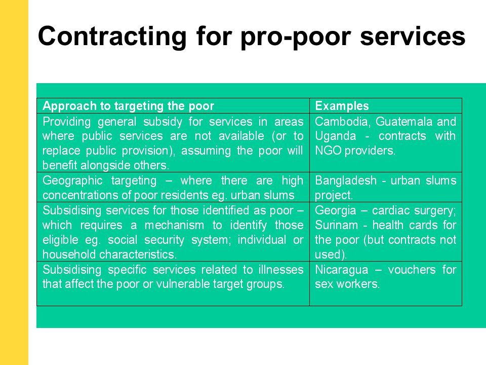 Contracting for pro-poor services