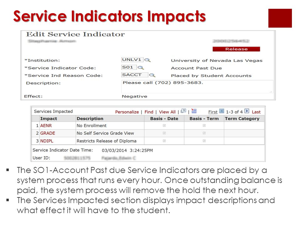 Service Indicators Impacts  The SO1-Account Past due Service Indicators are placed by a system process that runs every hour. Once outstanding balance