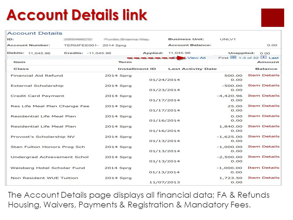 Account Details link The Account Details page displays all financial data; FA & Refunds Housing, Waivers, Payments & Registration & Mandatory Fees.