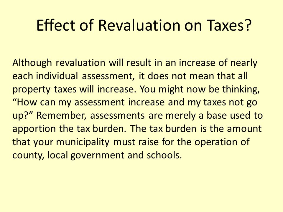 Effect of Revaluation on Taxes.
