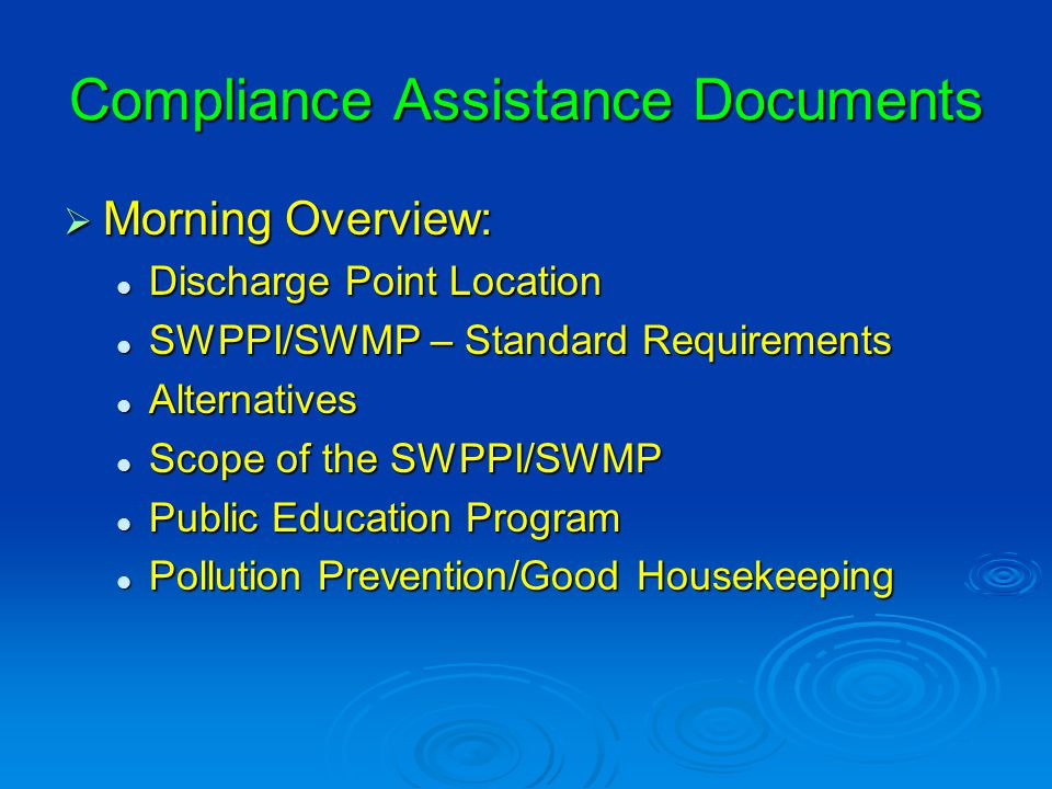 MS4 Website www.michigan.gov/deqstormwater  Electronic copy of the MS4 Permits  Compliance Assistance Documents  Links to other storm water resources