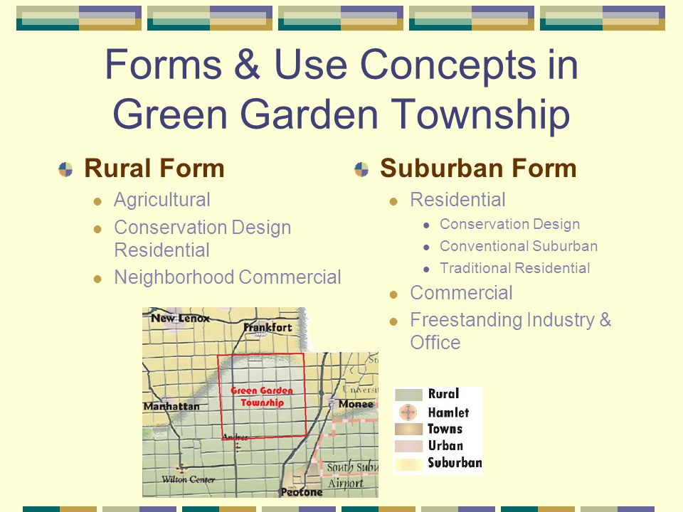 Forms & Use Concepts in Green Garden Township Rural Form Agricultural Conservation Design Residential Neighborhood Commercial Suburban Form Residential Conservation Design Conventional Suburban Traditional Residential Commercial Freestanding Industry & Office