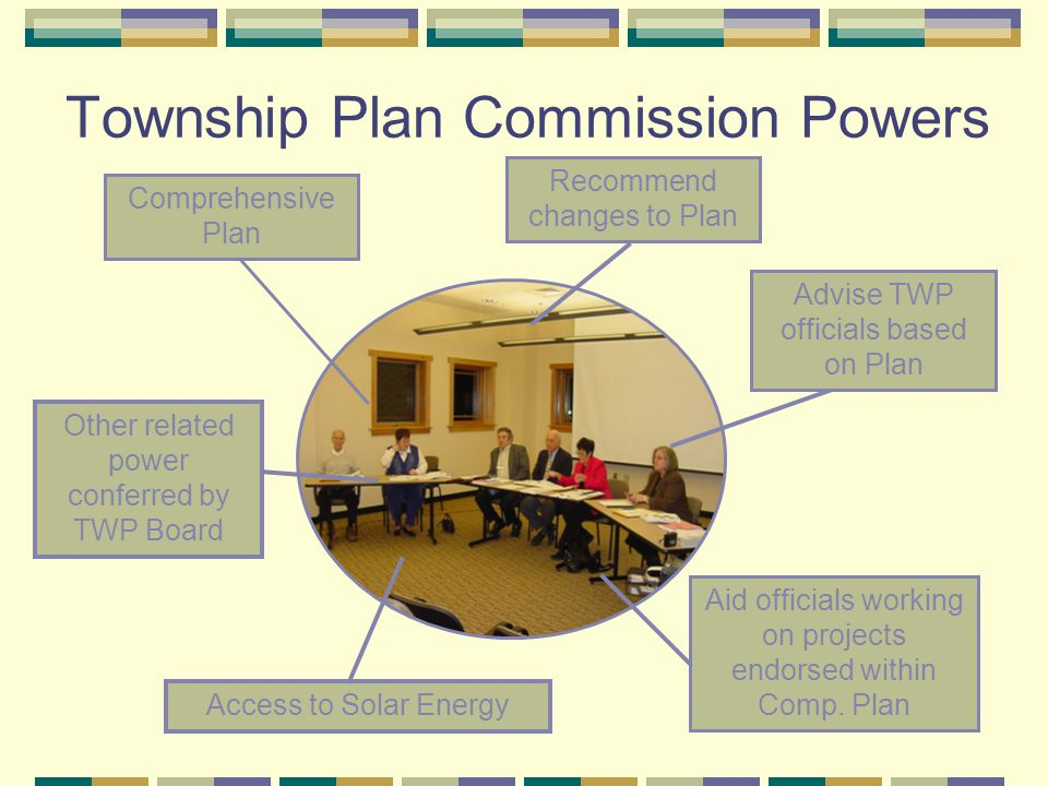 Township Plan Commission Powers Recommend changes to Plan Aid officials working on projects endorsed within Comp.