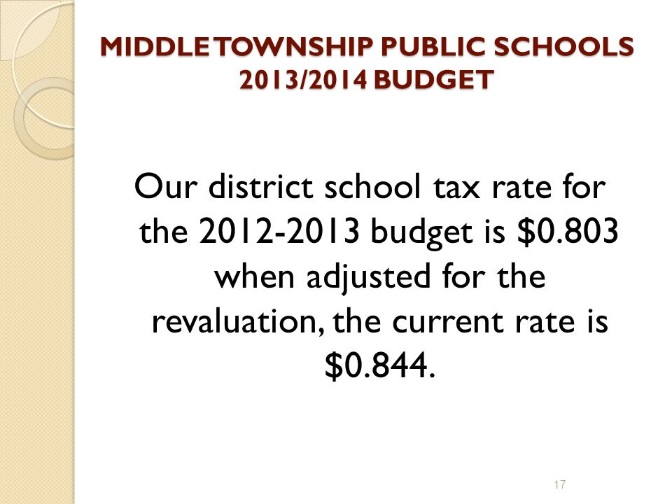 MIDDLE TOWNSHIP PUBLIC SCHOOLS 2013/2014 BUDGET Our district school tax rate for the 2012-2013 budget is $0.803 when adjusted for the revaluation, the current rate is $0.844.