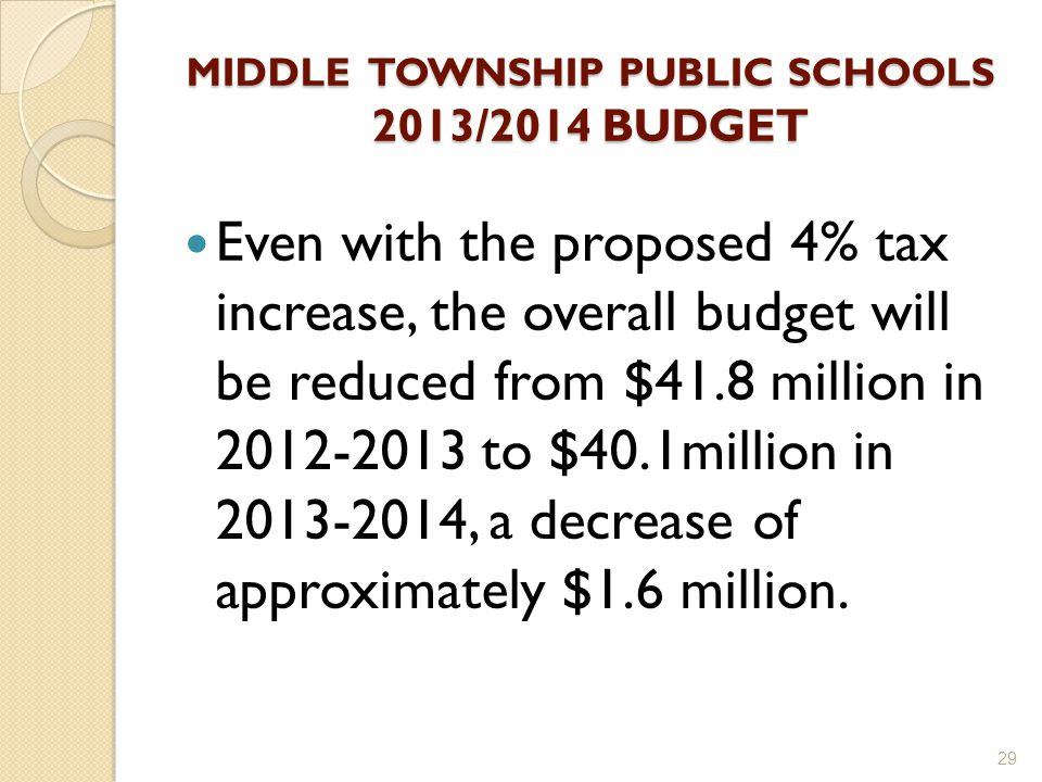 MIDDLE TOWNSHIP PUBLIC SCHOOLS 2013/2014 BUDGET Even with the proposed 4% tax increase, the overall budget will be reduced from $41.8 million in 2012-2013 to $40.1million in 2013-2014, a decrease of approximately $1.6 million.