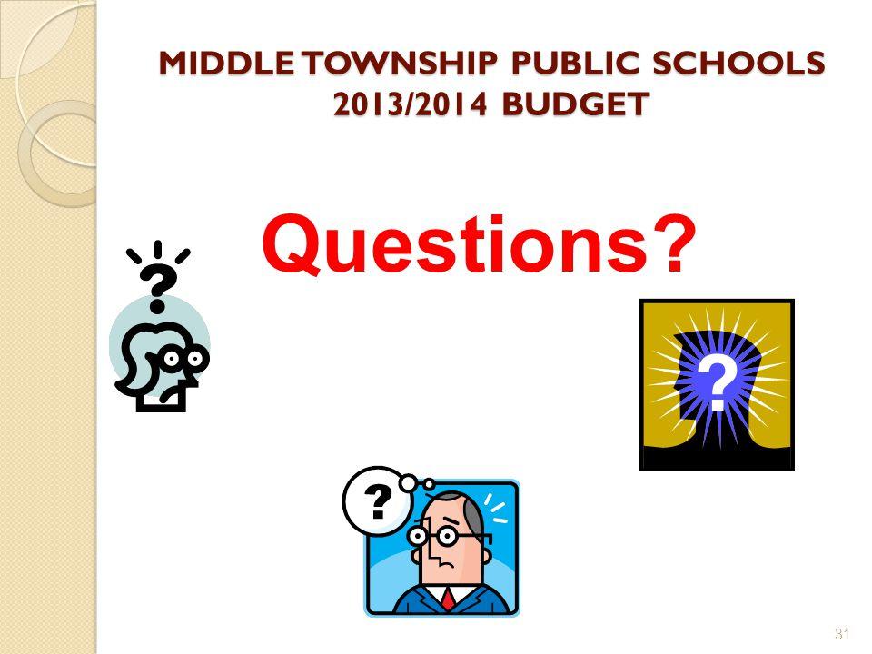 MIDDLE TOWNSHIP PUBLIC SCHOOLS 2013/2014 BUDGET 31 Questions?