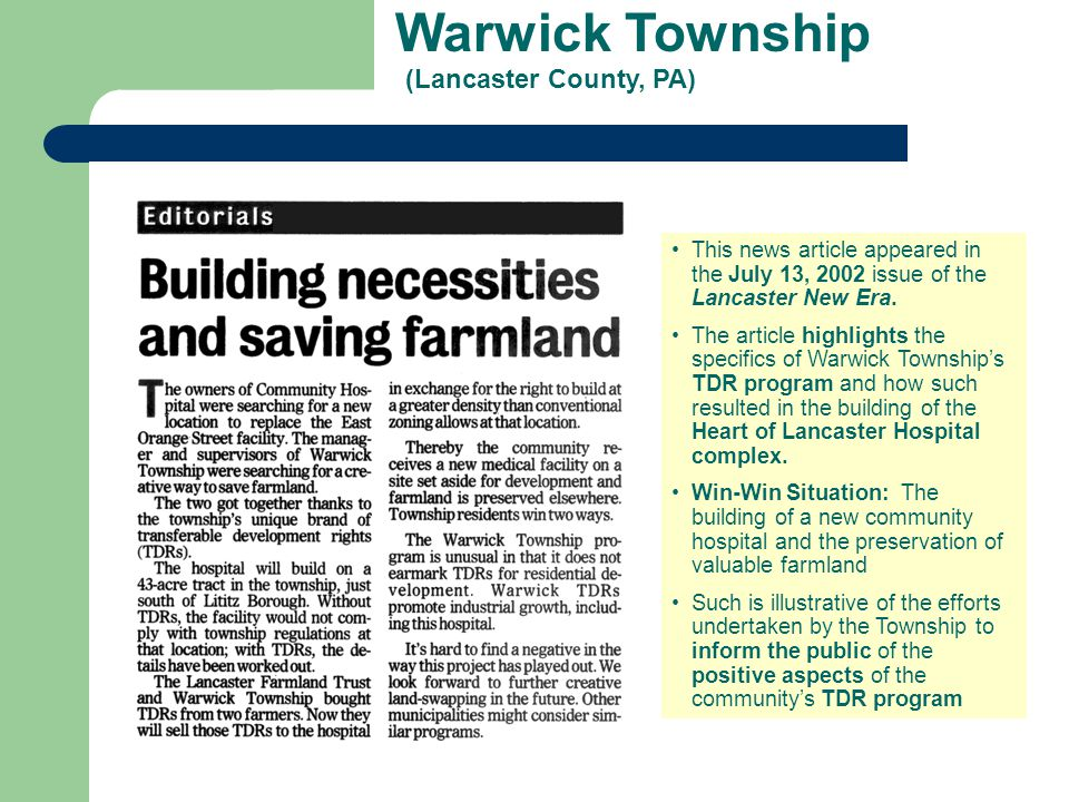 Warwick Township (Lancaster County, PA) This news article appeared in the July 13, 2002 issue of the Lancaster New Era. The article highlights the spe