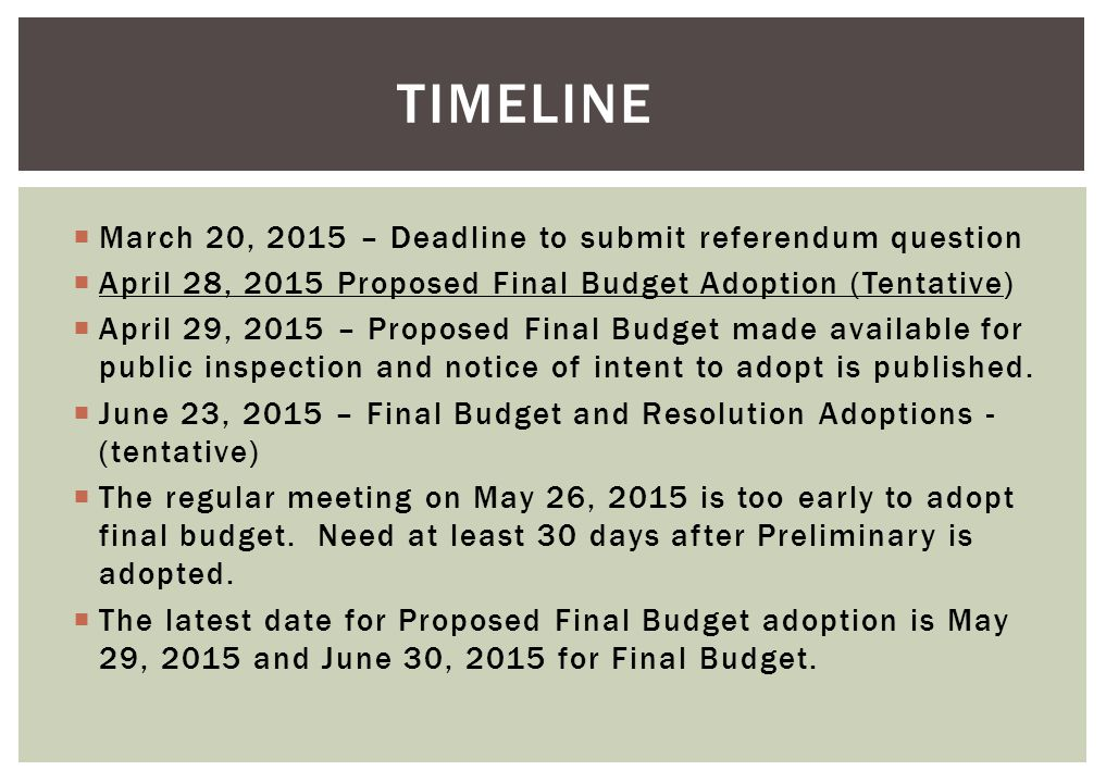  March 20, 2015 – Deadline to submit referendum question  April 28, 2015 Proposed Final Budget Adoption (Tentative)  April 29, 2015 – Proposed Final Budget made available for public inspection and notice of intent to adopt is published.