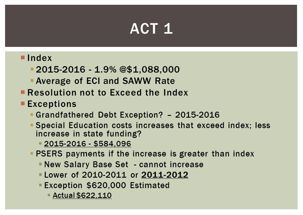  Index  2015-2016 - 1.9% @$1,088,000  Average of ECI and SAWW Rate  Resolution not to Exceed the Index  Exceptions  Grandfathered Debt Exception