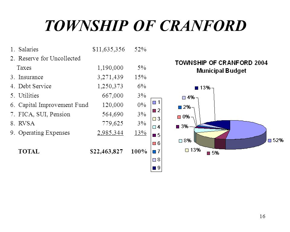16 TOWNSHIP OF CRANFORD 1. Salaries $11,635,356 52% 2. Reserve for Uncollected Taxes1,190,000 5% 3. Insurance3,271,439 15% 4. Debt Service1,250,373 6%