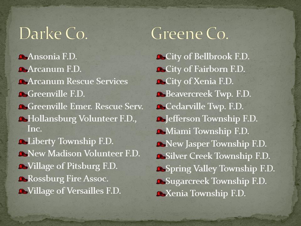 Ansonia F.D. Arcanum F.D. Arcanum Rescue Services Greenville F.D.