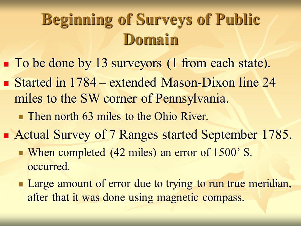 Beginning of Surveys of Public Domain To be done by 13 surveyors (1 from each state). To be done by 13 surveyors (1 from each state). Started in 1784