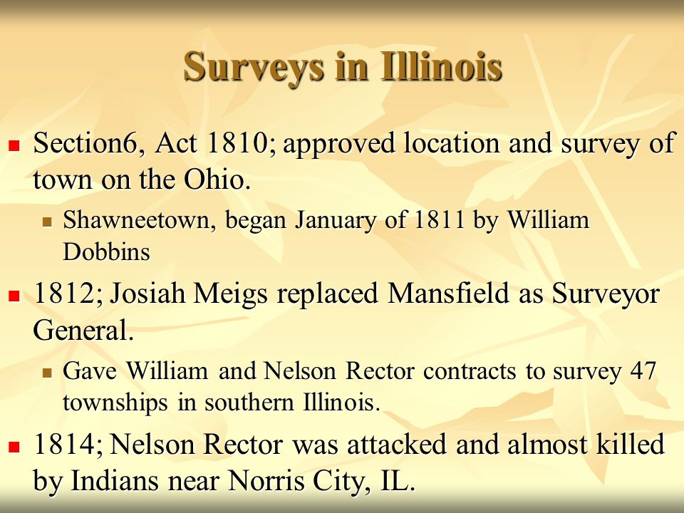 Surveys in Illinois Section6, Act 1810; approved location and survey of town on the Ohio. Section6, Act 1810; approved location and survey of town on