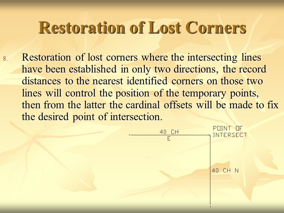 Restoration of Lost Corners 8. Restoration of lost corners where the intersecting lines have been established in only two directions, the record dista