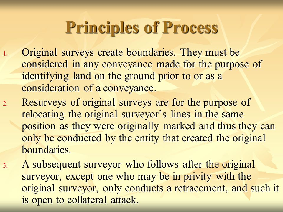 Principles of Process 1. Original surveys create boundaries. They must be considered in any conveyance made for the purpose of identifying land on the