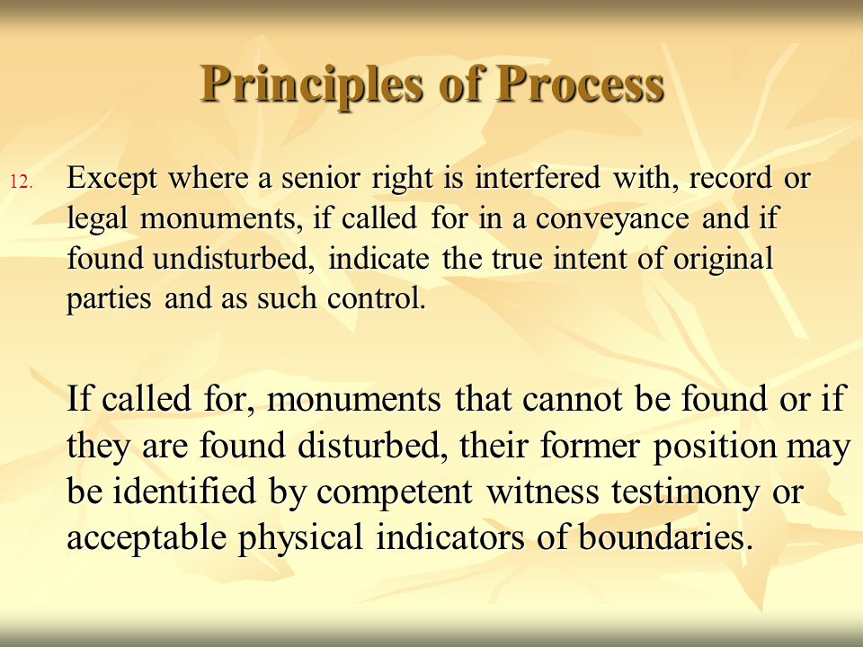 Principles of Process 12. Except where a senior right is interfered with, record or legal monuments, if called for in a conveyance and if found undist