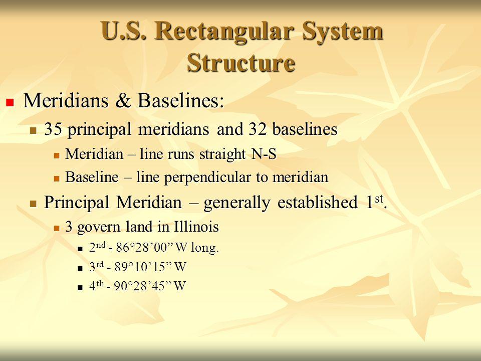U.S. Rectangular System Structure Meridians & Baselines: Meridians & Baselines: 35 principal meridians and 32 baselines 35 principal meridians and 32