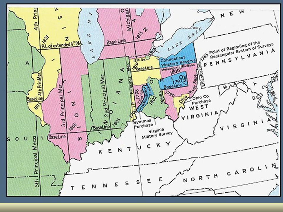 Surveys in Illinois April 1816 – William Rector Surveyor of Public Lands in Territories of Illinois and Missouri. April 1816 – William Rector Surveyor of Public Lands in Territories of Illinois and Missouri. Had same authority as Surveyor General Had same authority as Surveyor General ¼ lines to be run parallel to sides between which they run.