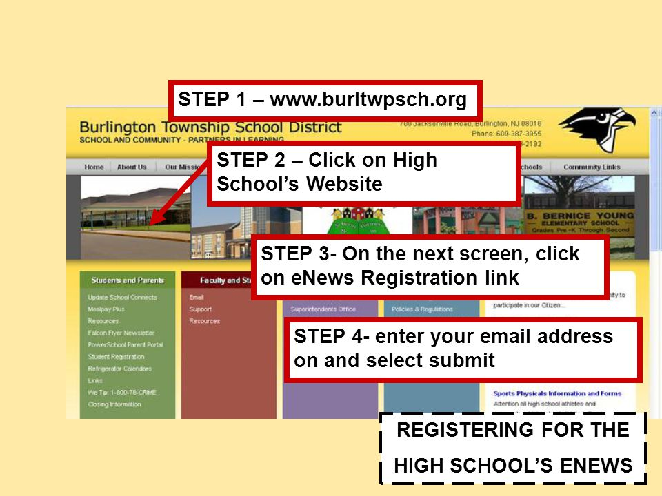 REGISTERING FOR THE HIGH SCHOOL'S ENEWS STEP 1 – www.burltwpsch.org STEP 3- On the next screen, click on eNews Registration link STEP 2 – Click on High School's Website STEP 4- enter your email address on and select submit